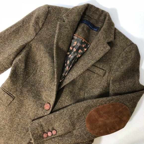 Zara Jackets Coats Wool Elbow Patch Herringbone Blazer Jacket